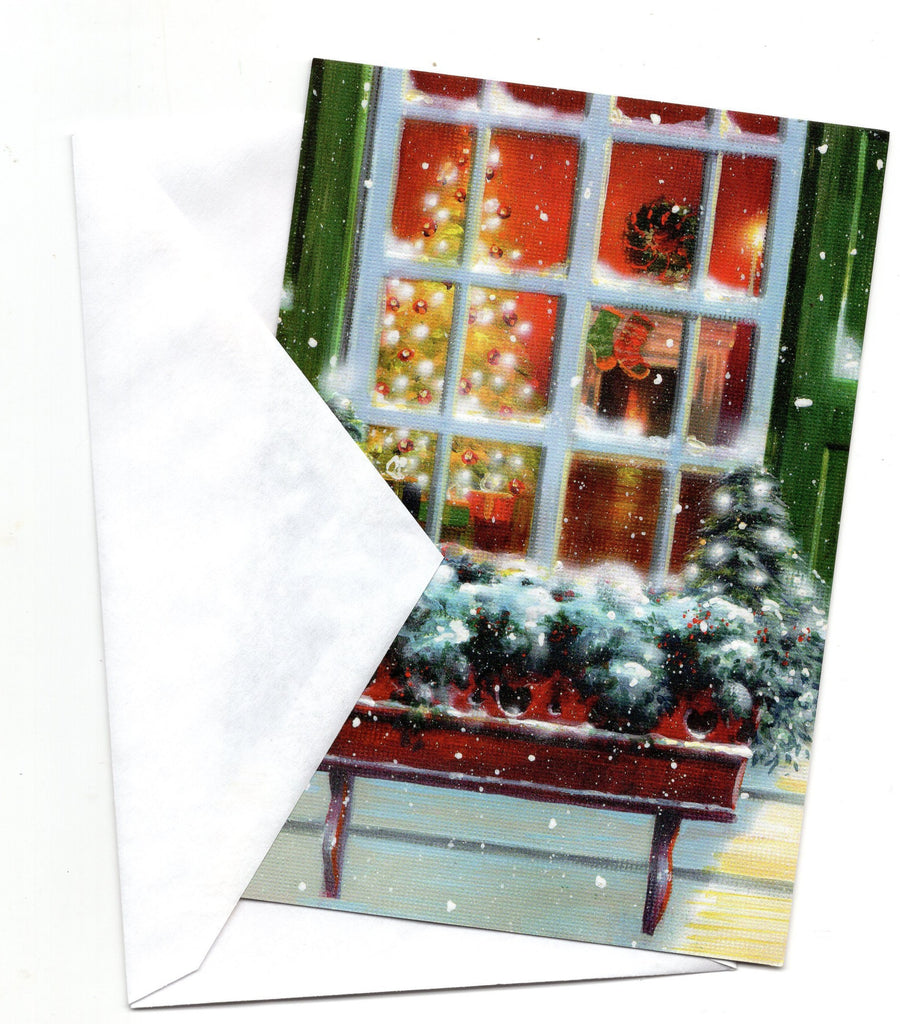 Christmas Eve a Look from a Window Holidays Seasons Greeting Card Vintage