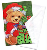 Teddy Bear Santa Claus W/Gifts Christmas Greeting Card Marry Christmas Vintage