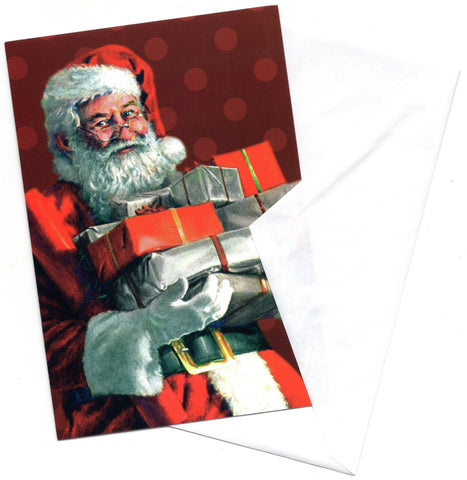 Santa Claus W/Gifts Warmest Wishes Christmas Greeting Card Vintage Marry Christmas
