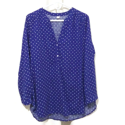 Old Navy V-Neck Lightweight Popover Tunic for Women Navy White Dots Large