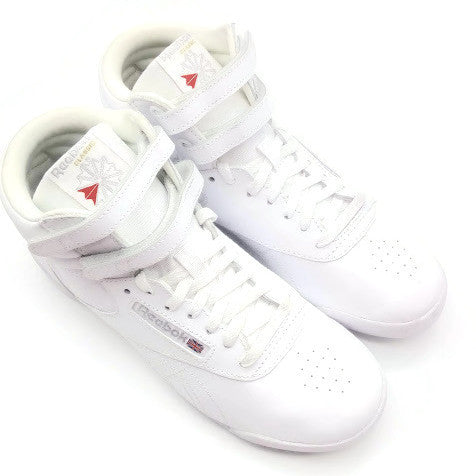 Reebok Big Kids' Freestyle Hi Walking Shoe White/Silver size  4.5