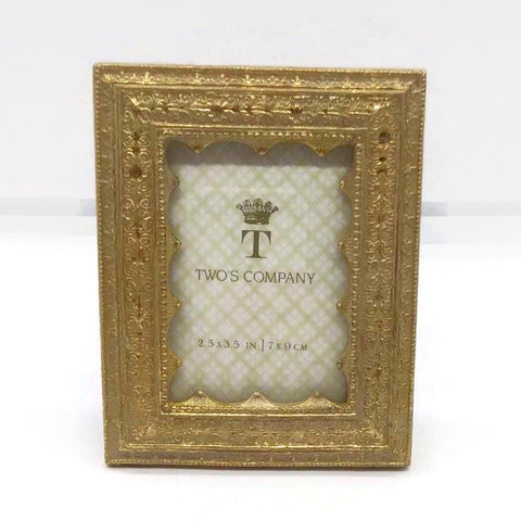 Vermeil Ornate Photo Frame Rectangle, Table Top / Wall Mounting Gold Tone