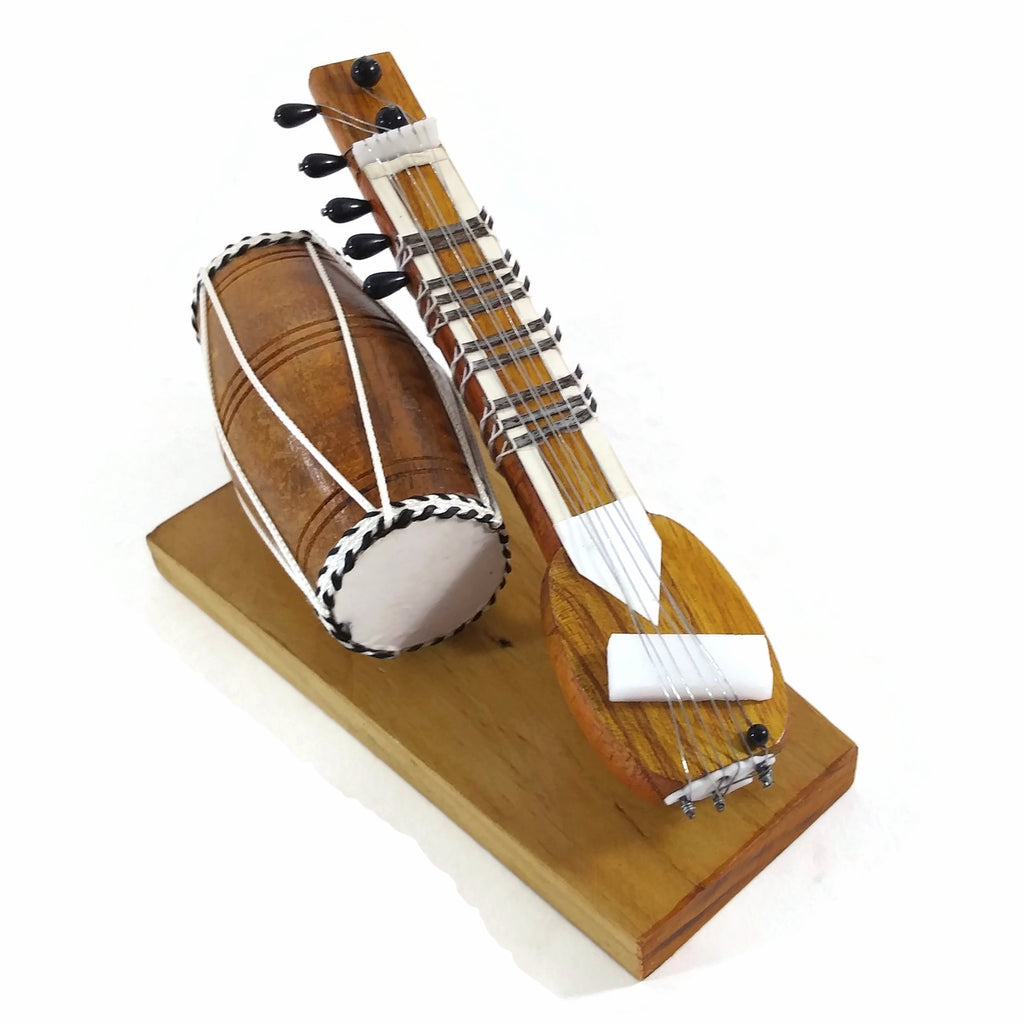India Handicraft Miniature Musical Instrument Wooden Sitar&Dholak Drum Vintage