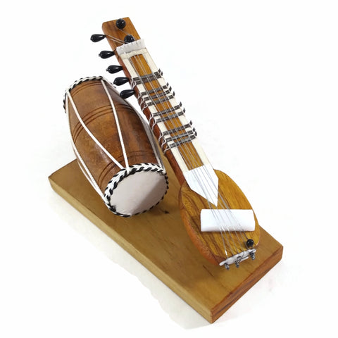 India Handicraft Miniature Musical Instrument Wooden Sitar &  Dholak Drum Brown