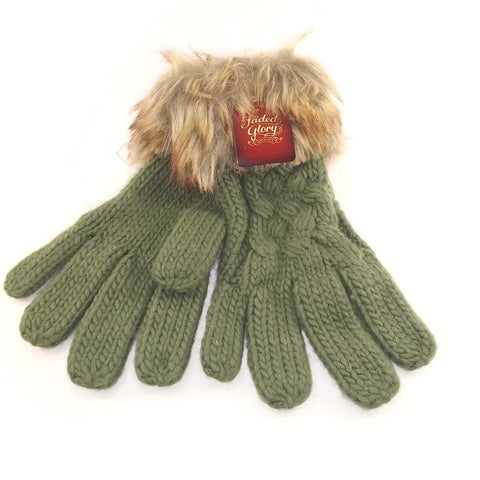Winter Knit Gloves, Women's Faded Glory Fur Trimmed, Olive Drab - New