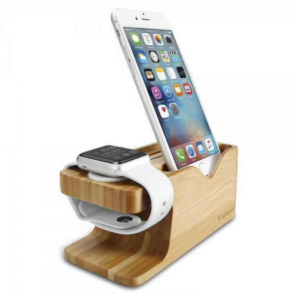 Stand incarcare Spigen pt Apple iWatch + iPhone, Bambus