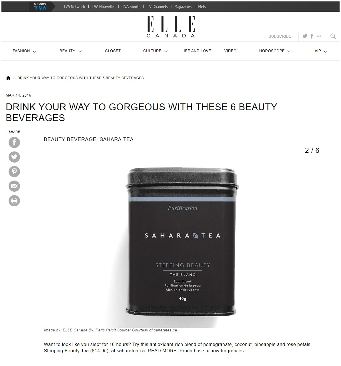 Sahara & Co Elle Canada Steeping Beauty Article