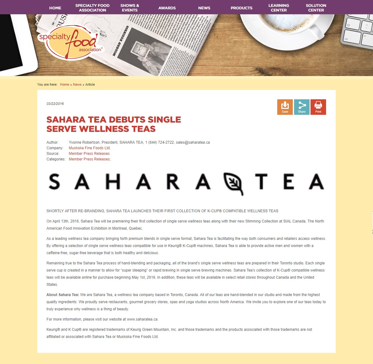 Sahara & Co Specialty Food Association
