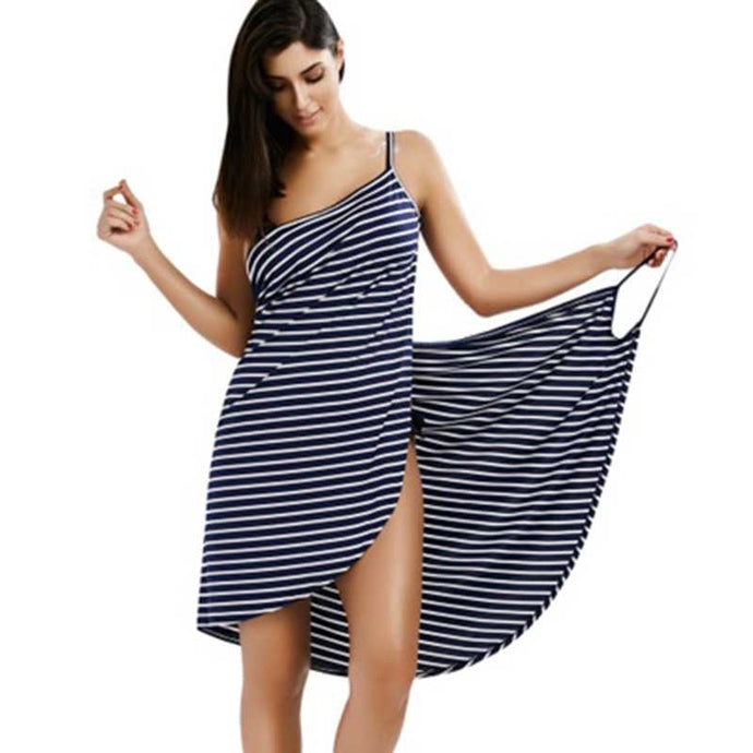 Sexy Backless Women Summer Striped Dress V-neck Spaghetti Strap Women Knee-length Cover ups Beach Dresses