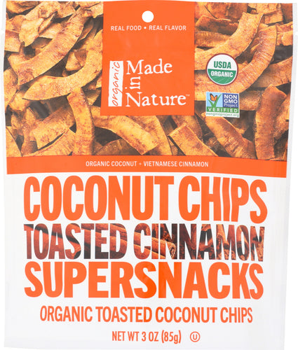 MADE IN NATURE: Organic Toasted Coconut Chips Cinnamon, 3 oz