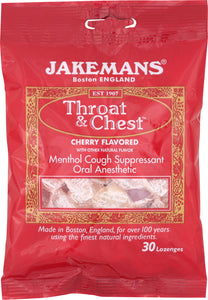 JAKEMANS: Lozenge Throat and Chest Menthol Cherry, 30 pc