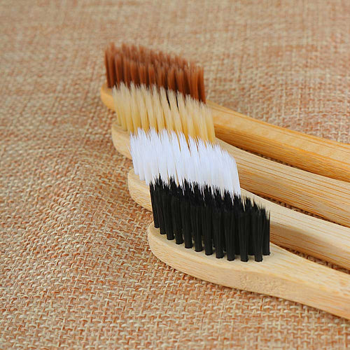 Personal Environmental Bamboo Charcoal Toothbrush For Oral Health Low Carbon Medium Soft Bristle Wood Handle Toothbrush
