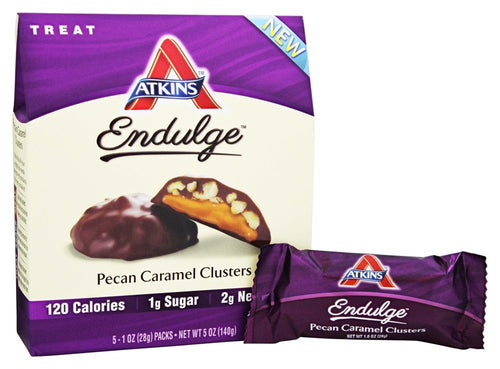 ATKINS NUTRITIONAL: Endulge Pecan Caramel Clusters Bars 5 Count (1 oz each), 5 oz