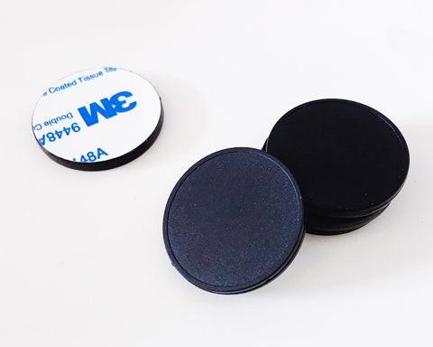 NFC Guard Tour ON-METAL rugged sticky token - Black ABS - NTAG213 - 30mm round