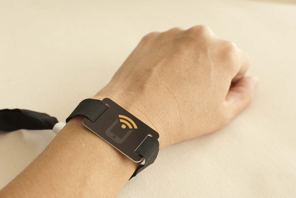 NFC Fabric Wristband with PVC Tag NTAG213 - 1+