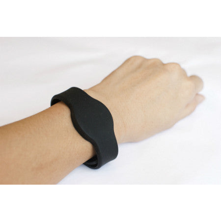 NFC Silicone Adjustable Wristband, Black with NTAG203 - 1+