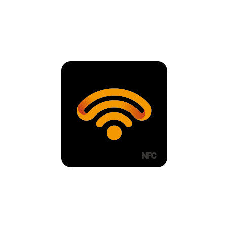 Black PET Logo NFC Sticker - NTAG216 - Square - 35mm