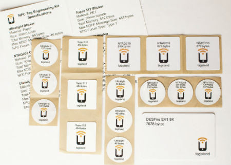 NFC Tag Engineering Kit - 15 Stickers and 1 DESFire EV1 8K Card - with Ultralight, NTAG216, NTAG203, Ultralight C, Topaz 512