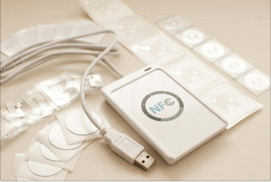 NFC Hacker Starter Kit - USB Writer + Variety Sample NFC Stickers - FREE Software