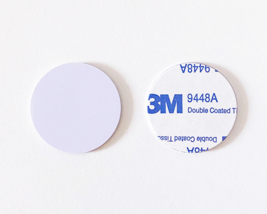 NFC Guard tour token white ON-METAL token with adhesive - NTAG213 - 30mm round