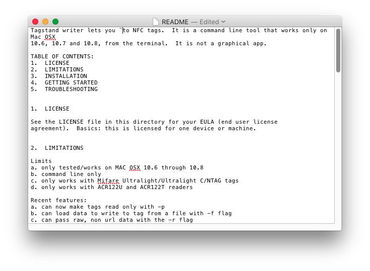 NFC Tag Reader/Writer Software (Mac OSX Beta)