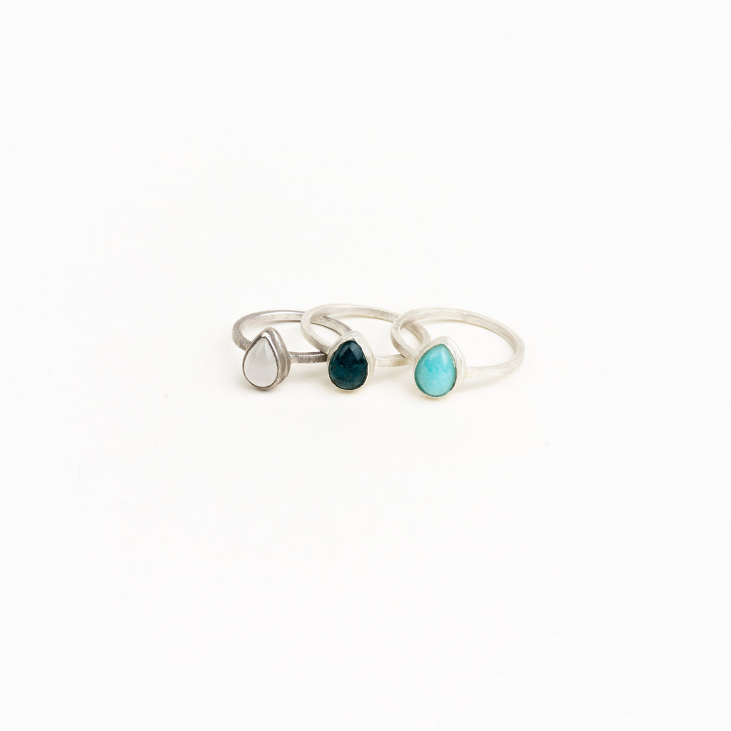 Gemstone Teardrop Ring