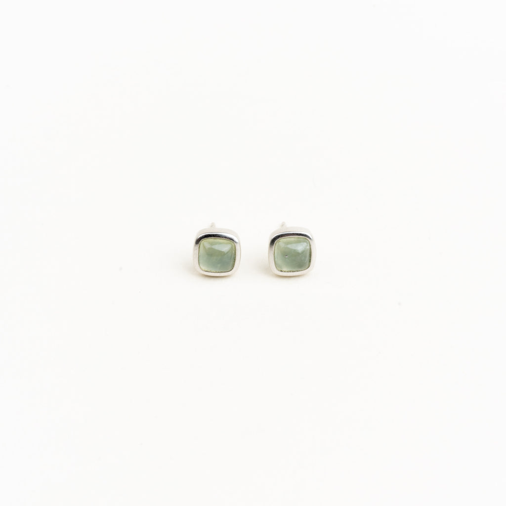 Sterling Silver Square Gemstone Studs