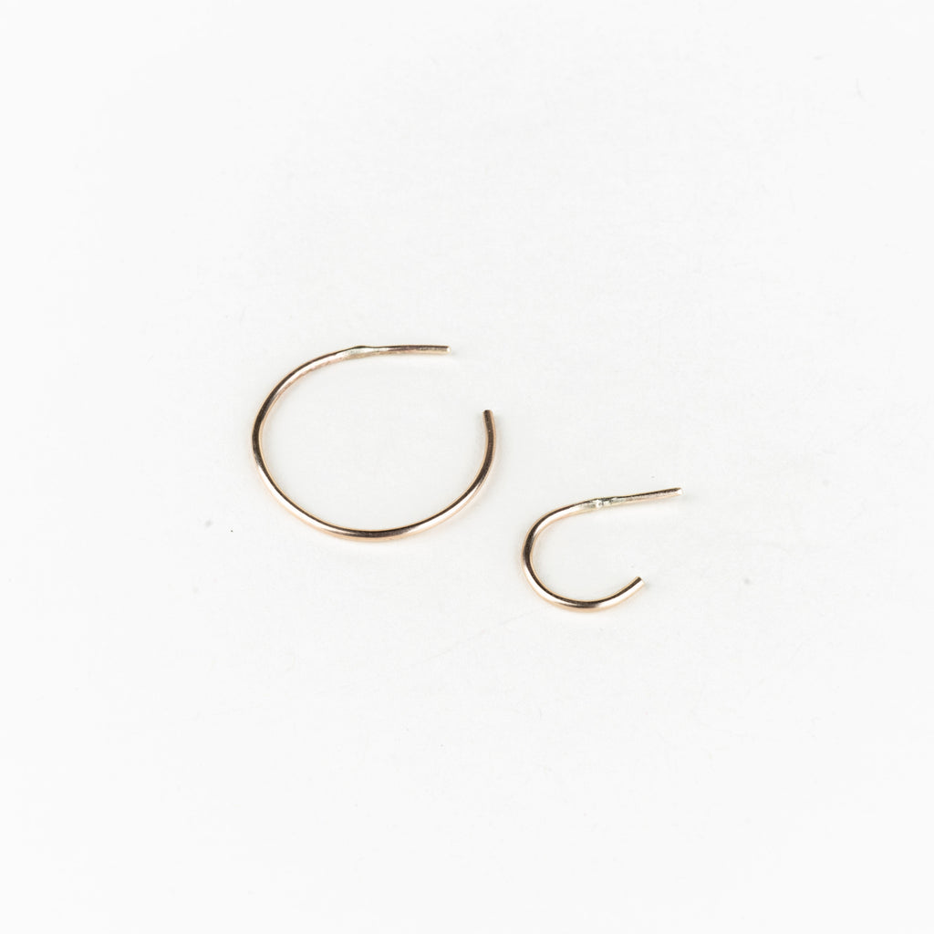 10k Brushed Gold Hoops