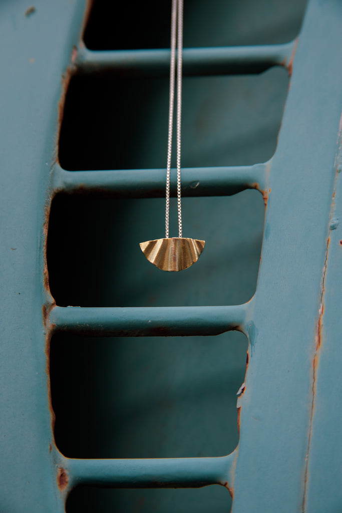 Brass necklace handmade jewelry in tofino bc