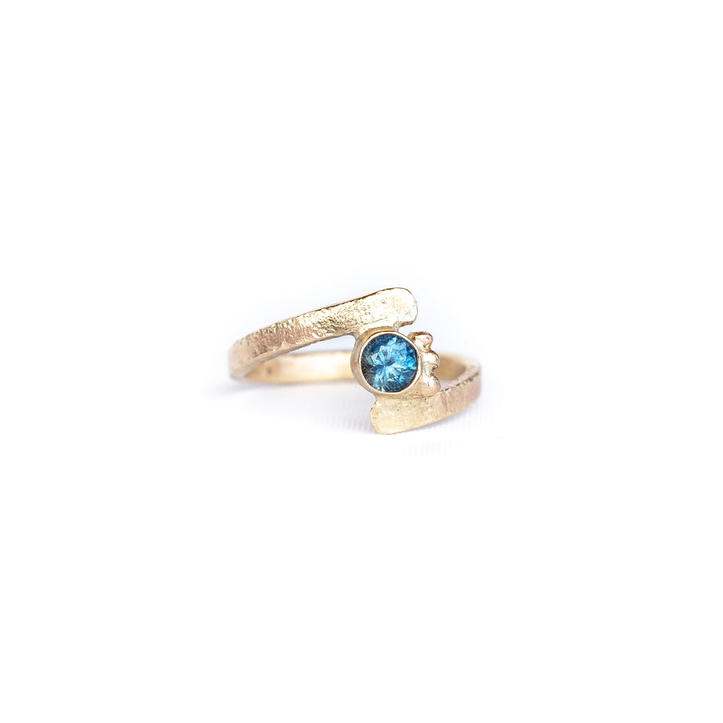 Unique sapphire engagement ring handmade in Tofino british columbia