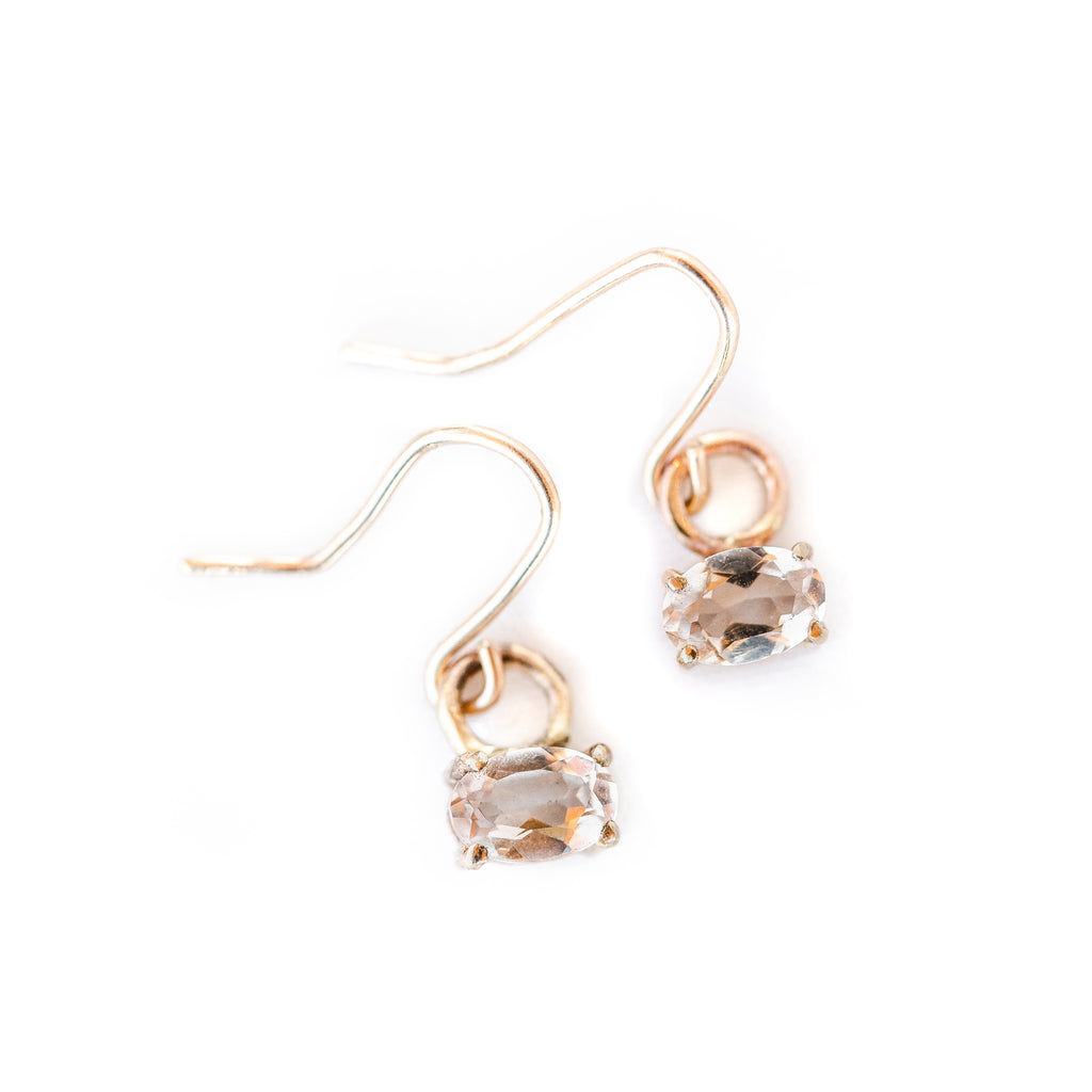 Gold Morganite earrings handmade in tofino bc, shop now online or in store at the factory