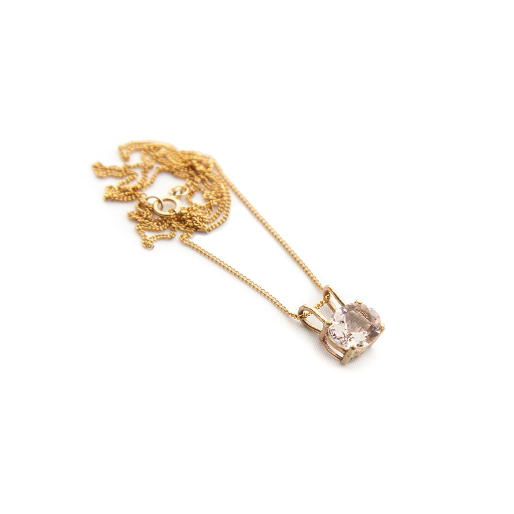 14k Oval Morganite Pendant