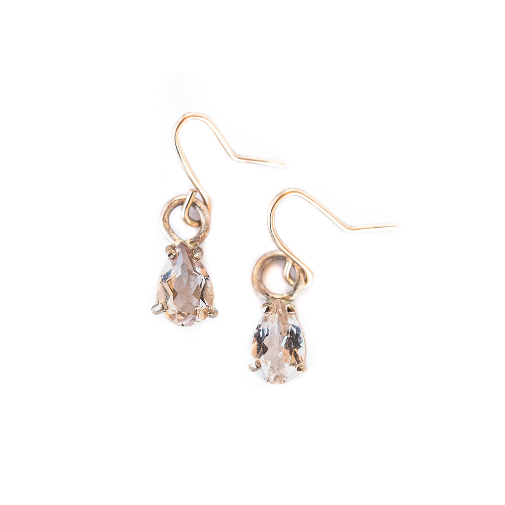 14k Morganite Teardrop Earrings