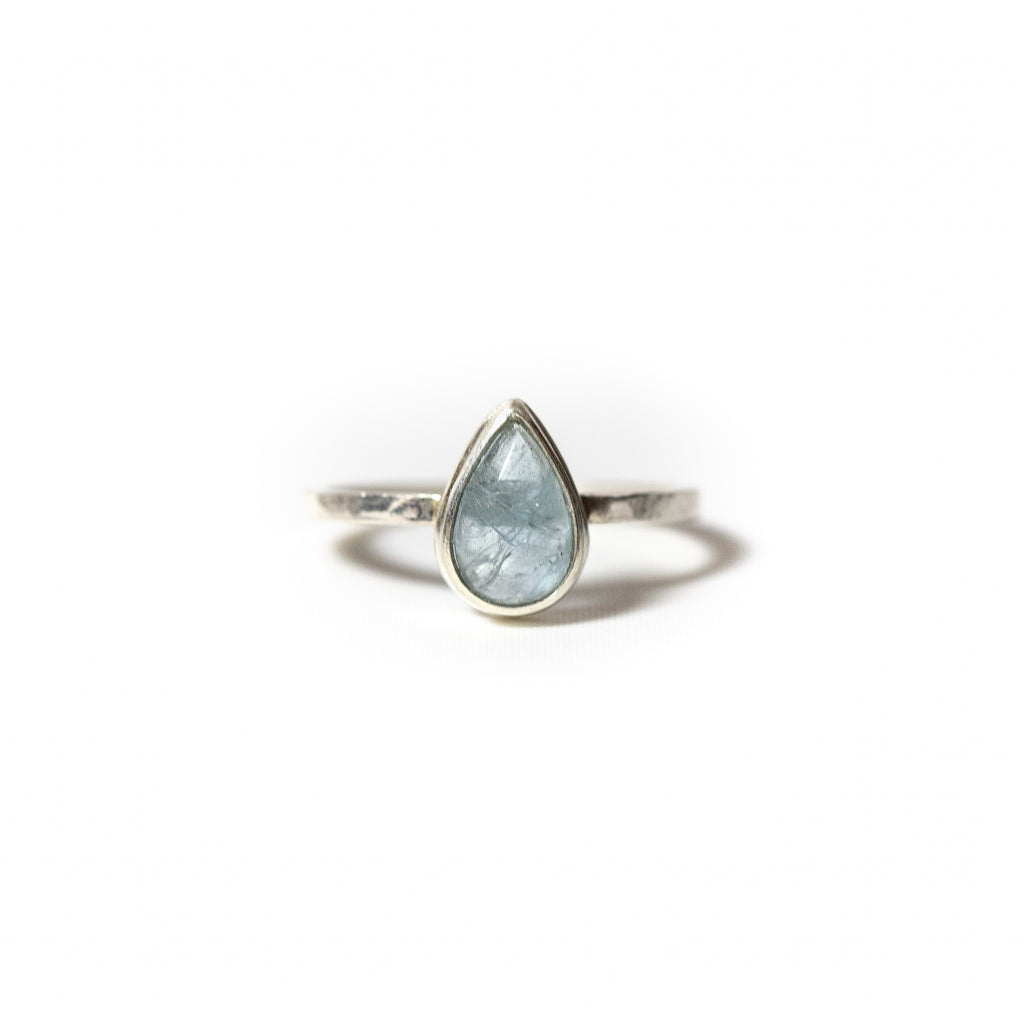 Tear Aquamarine Stacking Ring