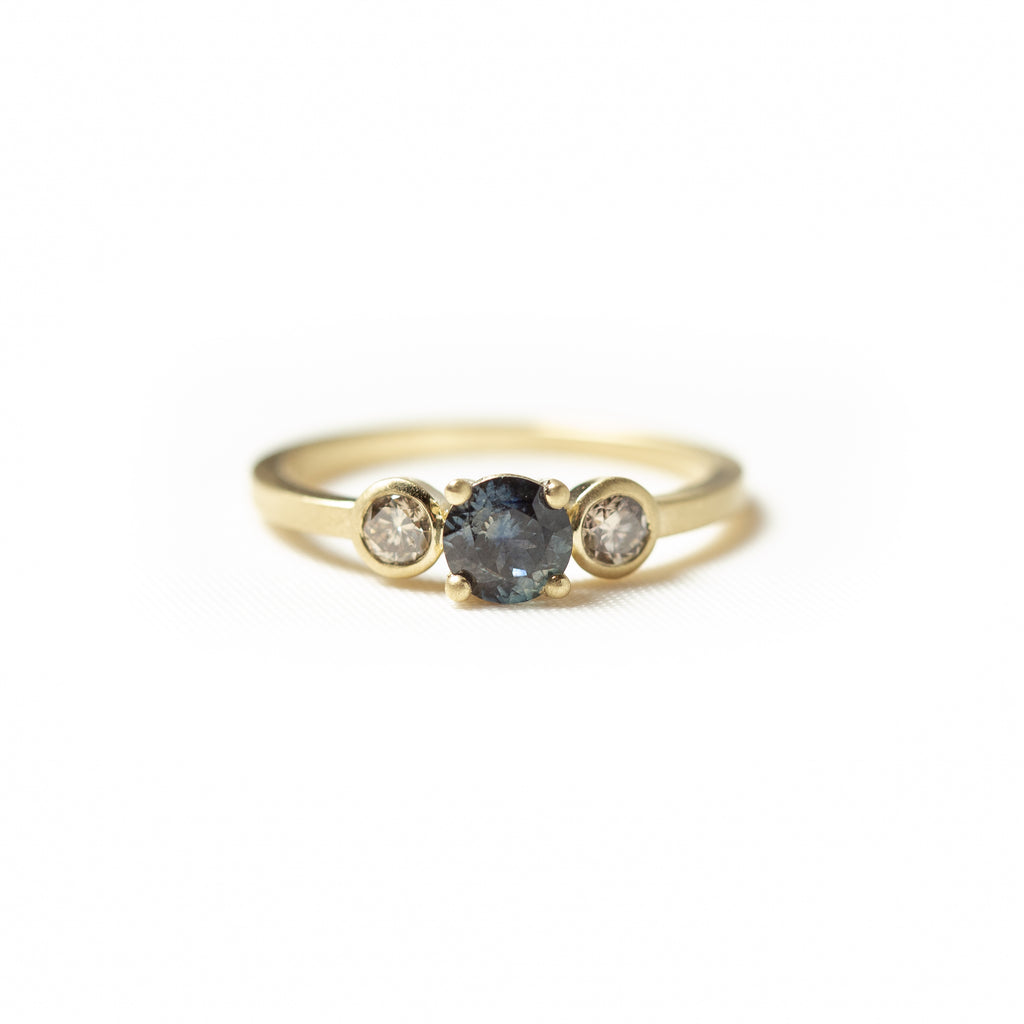 Montana Sapphire Ring with Champagne Diamond Accents