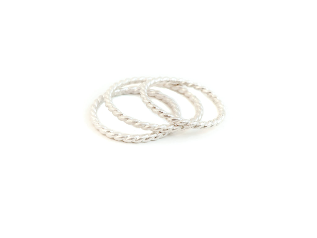 Sterling silver twist ring handmade in Tofino BC. Shop online or in store