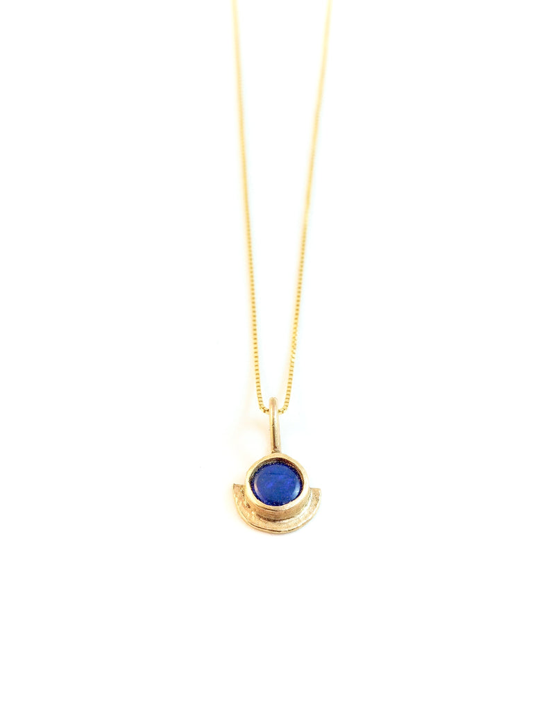 Dark blue opal in gold. Jewellery handmade in tofino bc