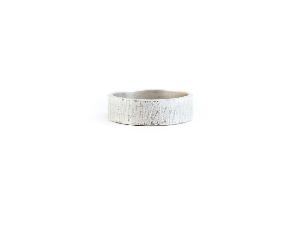 Bark texture ring handmade in tofino bc