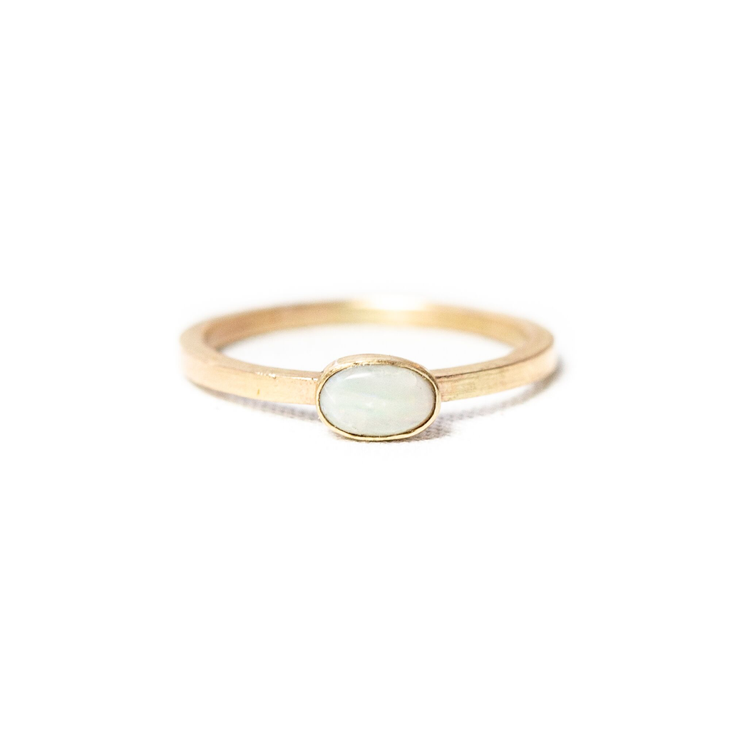 10k Oval Opal Stacking Ring (White)