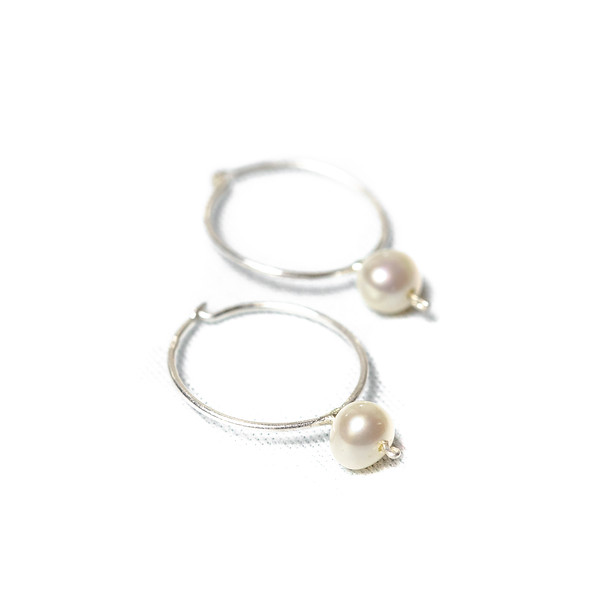 Pearl Hoops Handmade in Tofino. Shop online at lisafetcher.ca or buy in store at The Factory