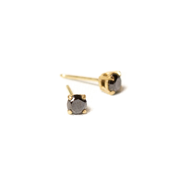 Black diamond stud earrings in gold handmade in tofino bc