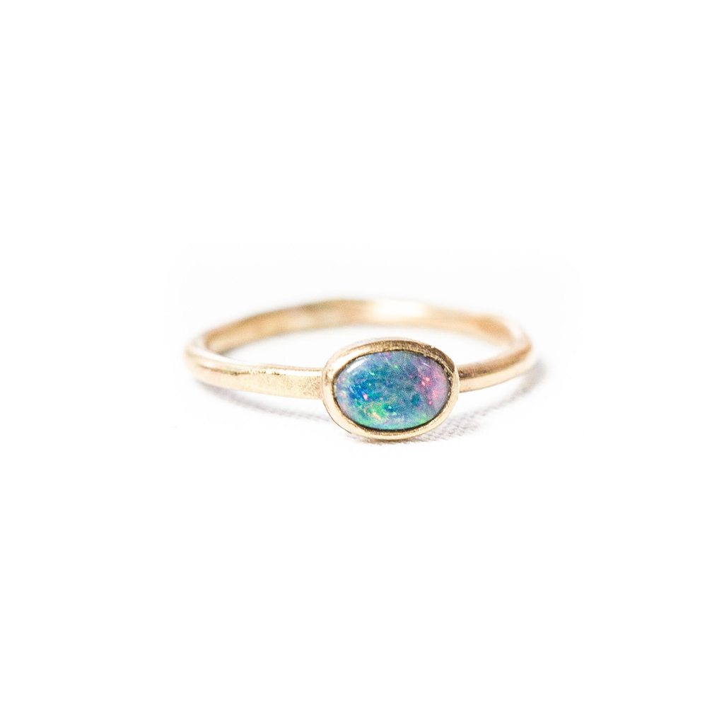 10k Oval Opal Stacking Ring (Blue)