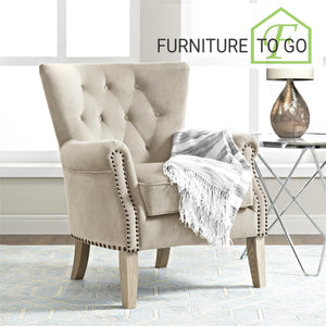 Clearance Furniture in Dallas 149.99 Beige Button Tufted Nailhead Accent Chair