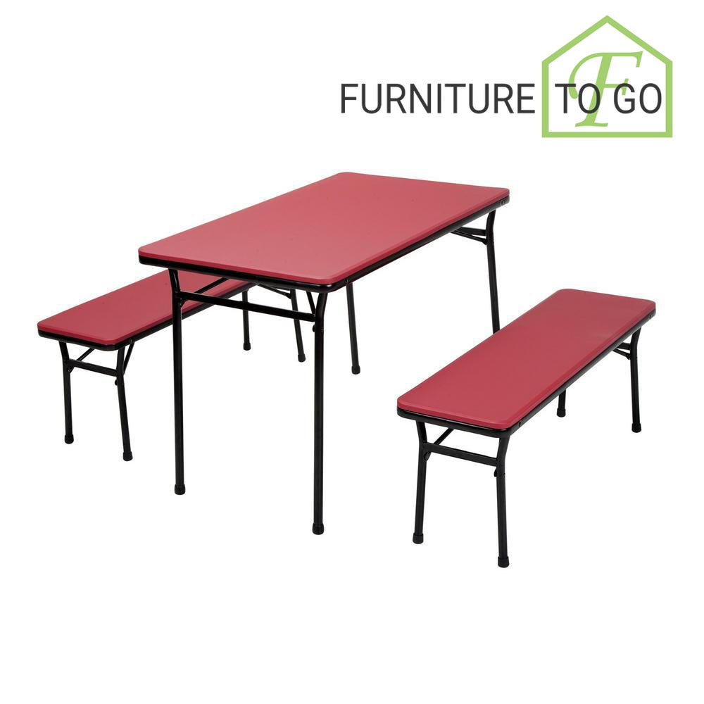 Strange Clearance Furniture In Dallas 3 Piece Red Folding Table And Bench Set Machost Co Dining Chair Design Ideas Machostcouk
