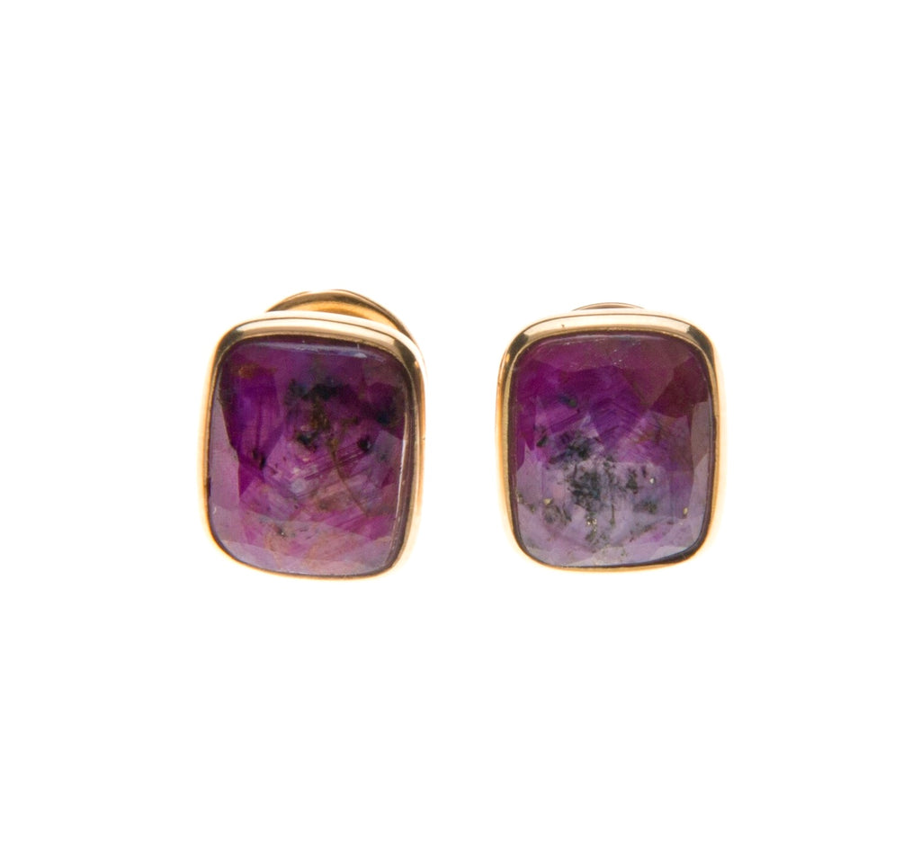 18k star faceted ruby rectangle studs