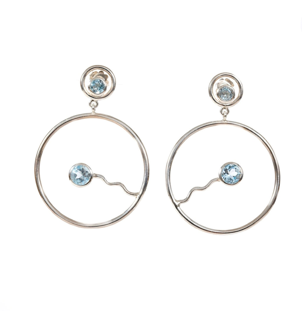 Wave Hoop Stud Dangles