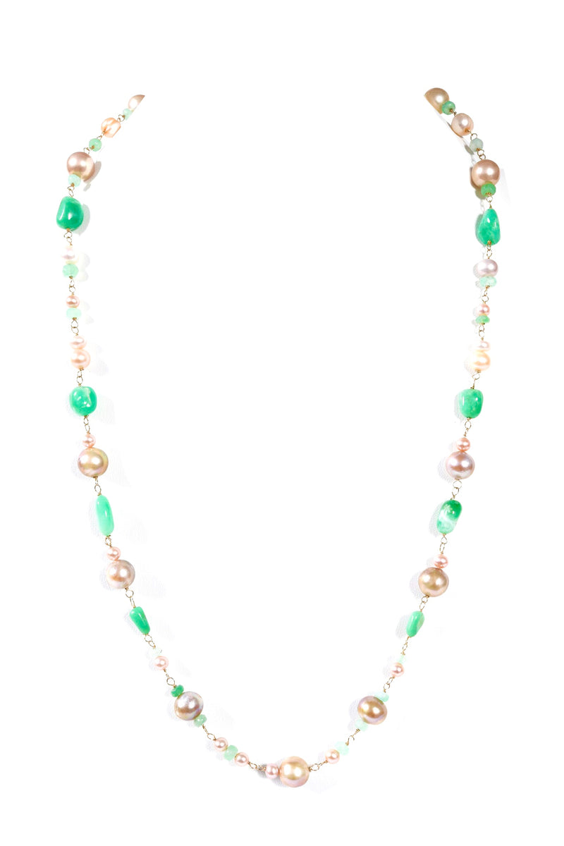 Pearl Pink & Green Necklace