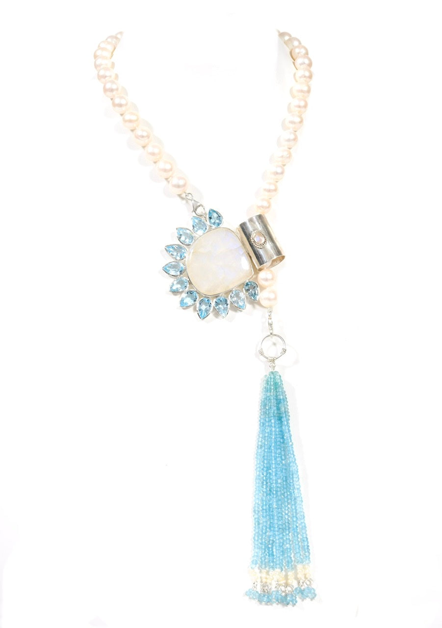Yasha Tassel Moonstone Blue Topaz-sold