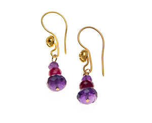 22k amethyst and ruby earrings-sold