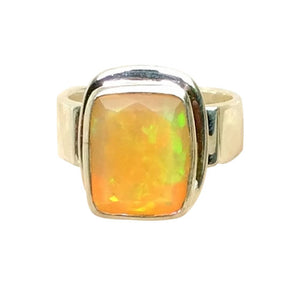 Faceted Rectangular Fire Opal Ring